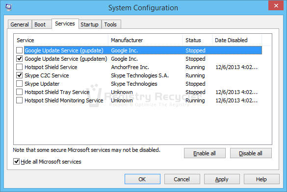 Disable third party services to Fix Freezing in Windows 8.1